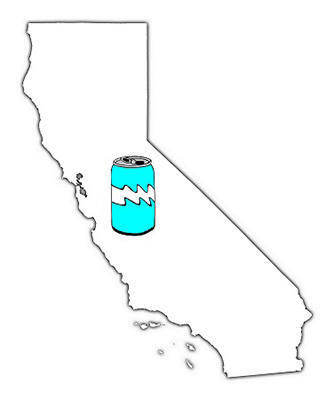 California map outline with can of soda in center