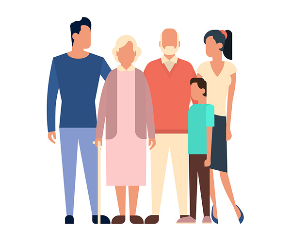 Big Family Kids Parents Grandparents Generation Illustration