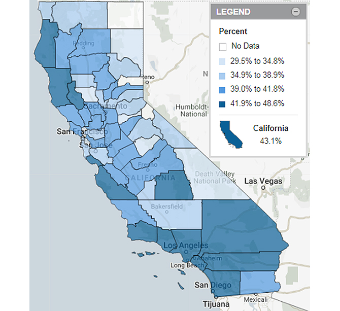 Homes with High Housing Cost Burden California Map