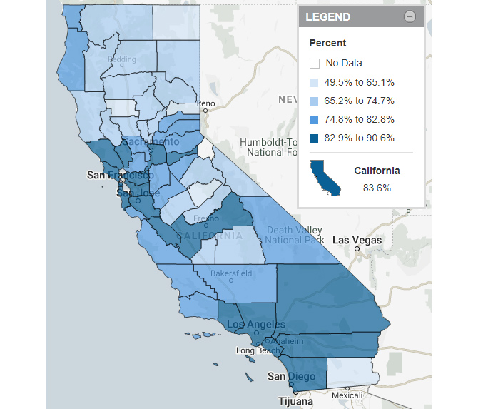 California Map of Data Indicating Infants Whose Mothers Received Prenatal Care in the First Trimester